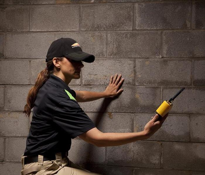 SERVPRO employee holding a yellow water meter in a basement with wet walls.